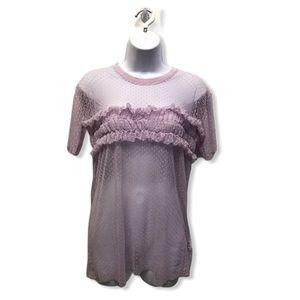 TopShop   Lilac Mesh Polka Dot Chic T-Shirt Blouse